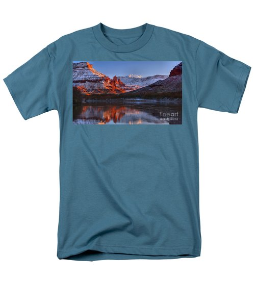 Men's T-Shirt  (Regular Fit) featuring the photograph Fisher Towers Sunset Glow Panorama by Adam Jewell
