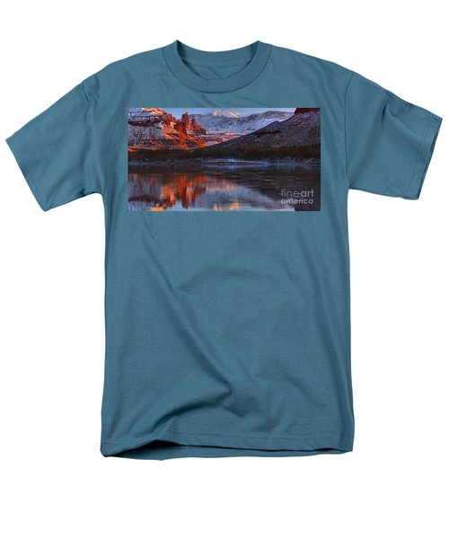 Men's T-Shirt  (Regular Fit) featuring the photograph Fisher Towers Sunset Reflection Panorama by Adam Jewell