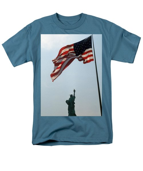 Flag And Statue Of Liberty Men's T-Shirt  (Regular Fit) by Carl Purcell