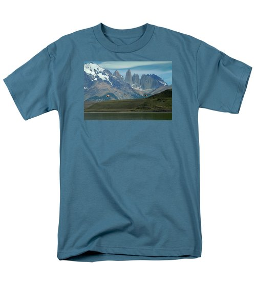 Flamingos Over Lago Nordenskjold Men's T-Shirt  (Regular Fit) by Alan Toepfer