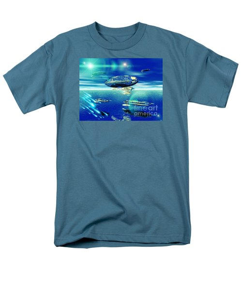 Men's T-Shirt  (Regular Fit) featuring the digital art Fleet Aqua by Jacqueline Lloyd