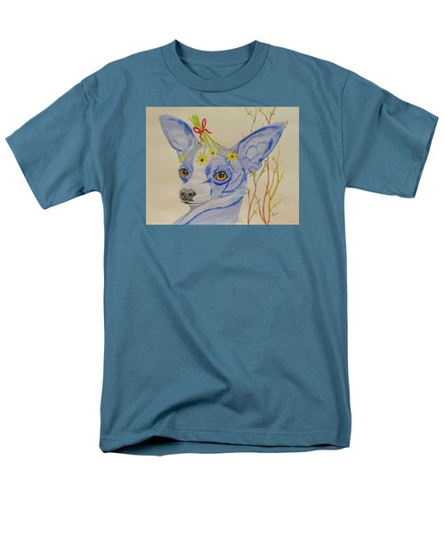 Men's T-Shirt  (Regular Fit) featuring the painting Flower Dog 7 by Hilda and Jose Garrancho