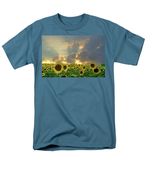 Men's T-Shirt  (Regular Fit) featuring the photograph Flowers, Pillars And Rays, His Glory Will Shine by Janice Adomeit