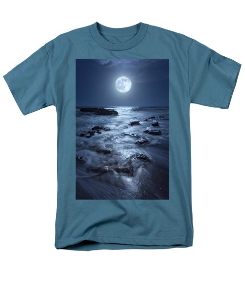 Men's T-Shirt  (Regular Fit) featuring the photograph Full Moon Rising Over Coral Cove Beach In Jupiter, Florida by Justin Kelefas