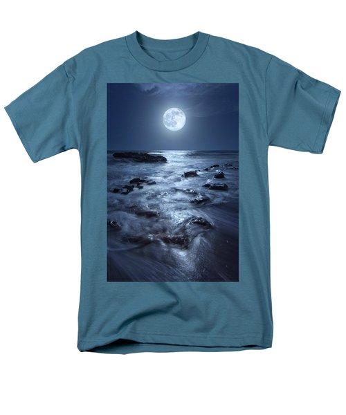 Full Moon Rising Over Coral Cove Beach In Jupiter, Florida Men's T-Shirt  (Regular Fit) by Justin Kelefas