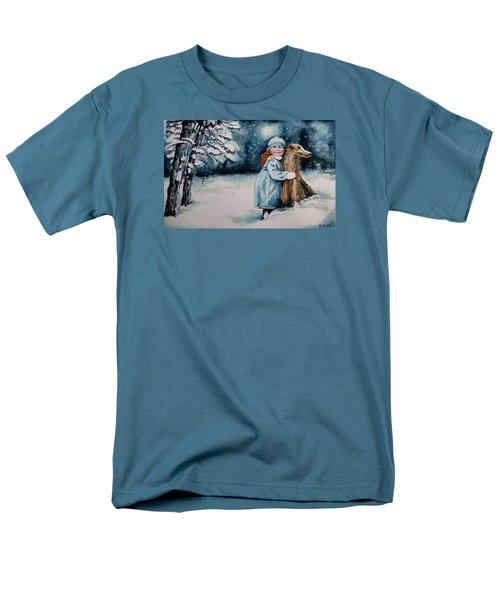 Men's T-Shirt  (Regular Fit) featuring the painting Fun In The Snow by Geni Gorani