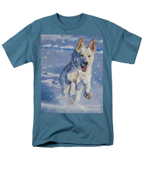 German Shepherd White In Snow Men's T-Shirt  (Regular Fit) by Lee Ann Shepard