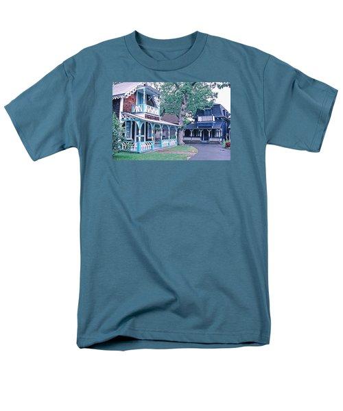 Gingerbread Houses Oak Bluff Martha's Vineyard Men's T-Shirt  (Regular Fit) by Tom Wurl