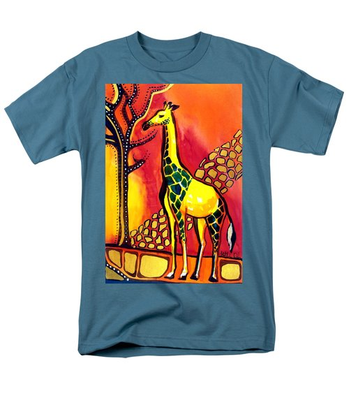 Giraffe With Fire  Men's T-Shirt  (Regular Fit) by Dora Hathazi Mendes