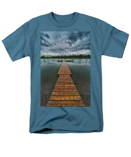 Men's T-Shirt  (Regular Fit) featuring the photograph Gloomy Rainy Day On Norbury Lake by Darcy Michaelchuk