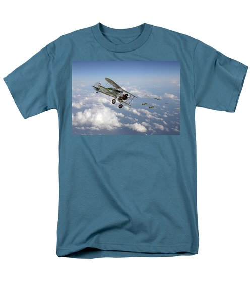 Men's T-Shirt  (Regular Fit) featuring the digital art  Gloster Gladiator - Malta Defiant by Pat Speirs