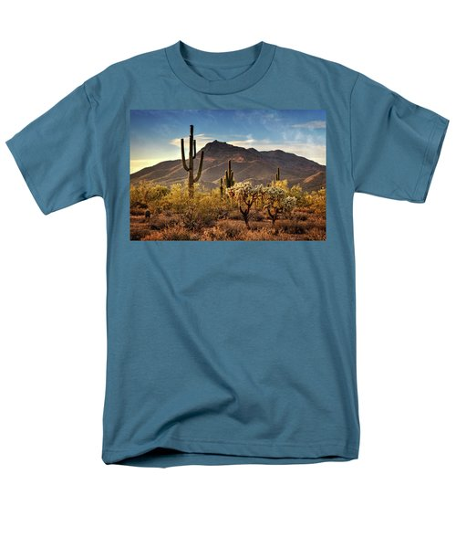 Men's T-Shirt  (Regular Fit) featuring the photograph Golden Hour On Usery Mountain  by Saija Lehtonen