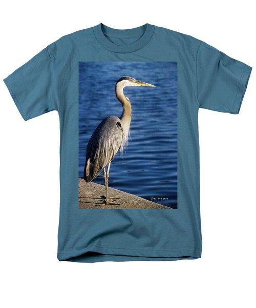 Great Blue Heron At Put-in-bay Men's T-Shirt  (Regular Fit) by Terri Harper