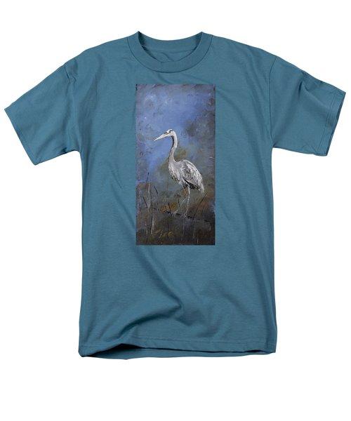 Great Blue Heron In Blue Men's T-Shirt  (Regular Fit) by Carolyn Doe