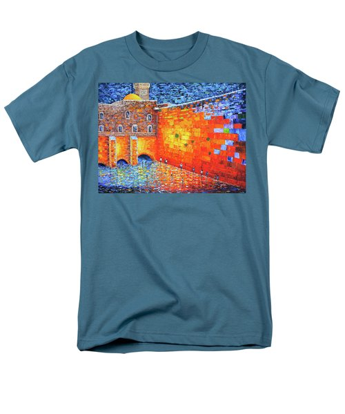 Men's T-Shirt  (Regular Fit) featuring the painting Wailing Wall Greatness In The Evening Jerusalem Palette Knife Painting by Georgeta Blanaru