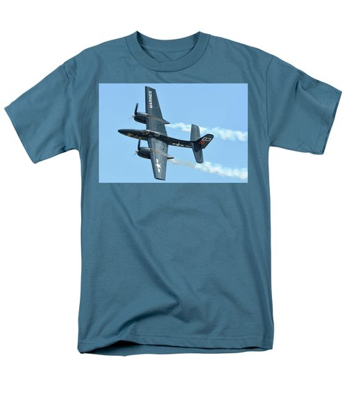 Men's T-Shirt  (Regular Fit) featuring the photograph Grumman F7f-3p Tigercat Nx700f Here Kitty Kitty Chino California April 30 2016 by Brian Lockett