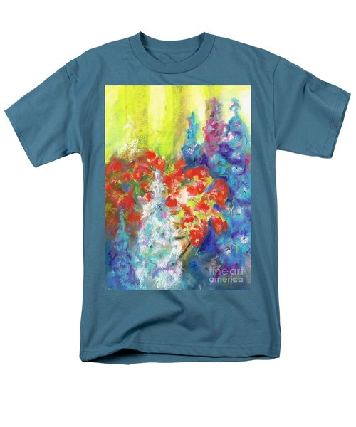 Hanging With The Delphiniums  Men's T-Shirt  (Regular Fit) by Frances Marino