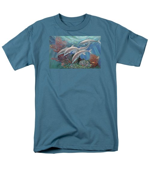 Happy Family - Dolphins Are Awesome Men's T-Shirt  (Regular Fit) by Svitozar Nenyuk
