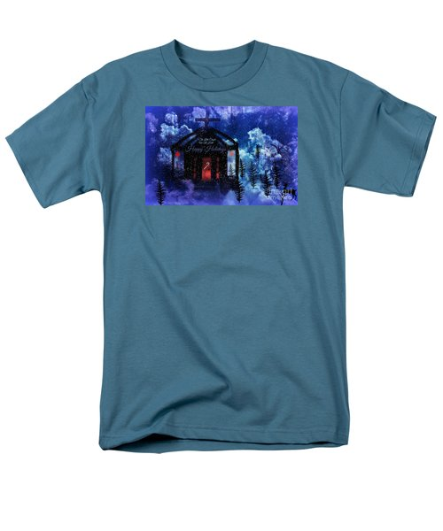 Men's T-Shirt  (Regular Fit) featuring the digital art Happy Holiday Little Chapel On The Hill by Sherri  Of Palm Springs