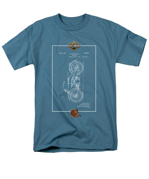 Men's T-Shirt  (Regular Fit) featuring the digital art Harley-davidson 1924 Vintage Patent Blueprint With 3d Badge by Serge Averbukh