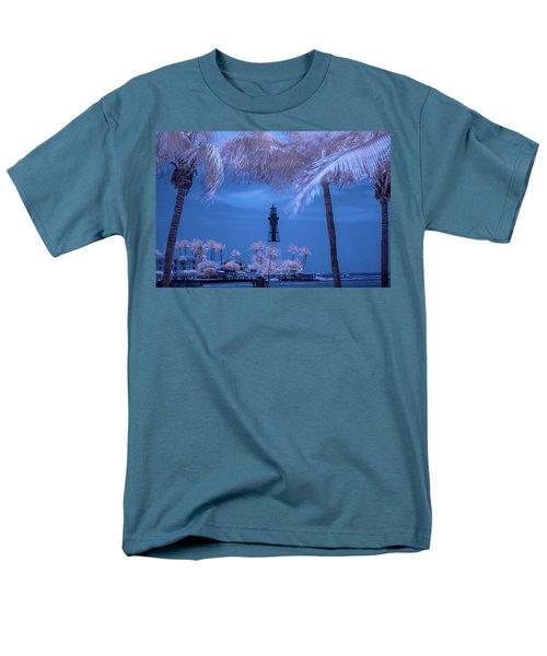 Men's T-Shirt  (Regular Fit) featuring the photograph Hillsboro Inlet Lighthouse Infrared by Louis Ferreira