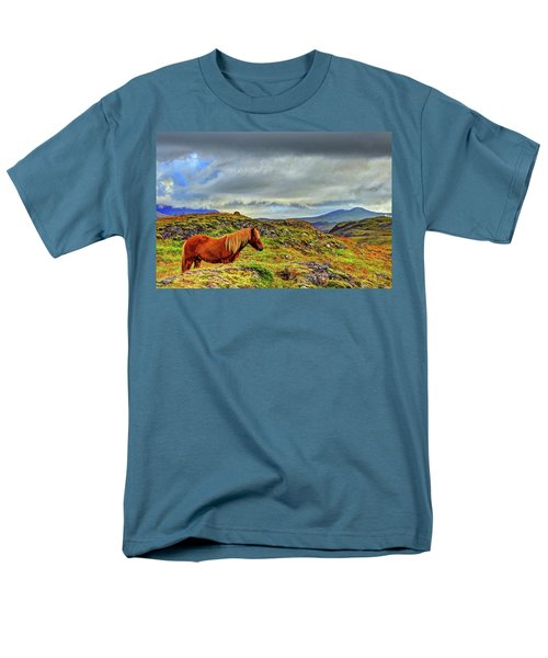 Men's T-Shirt  (Regular Fit) featuring the photograph Horse And Mountains by Scott Mahon