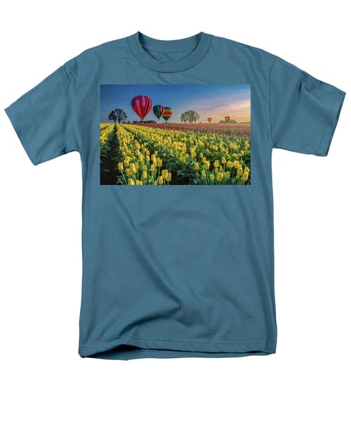 Men's T-Shirt  (Regular Fit) featuring the photograph Hot Air Balloons Over Tulip Fields by William Lee
