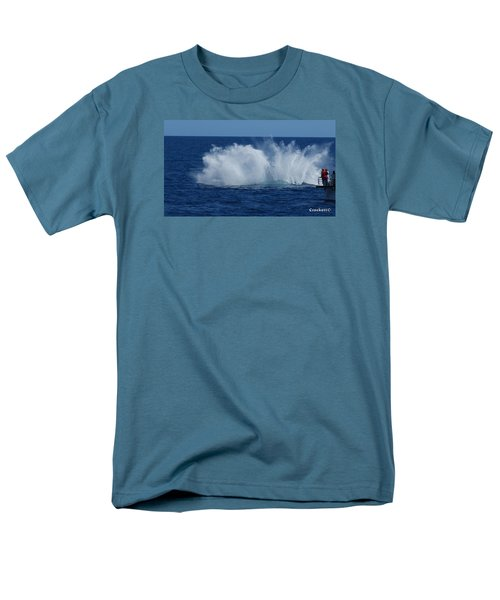 Humpback Whale Breaching Close To Boat 23 Image 3 Of 4 Men's T-Shirt  (Regular Fit) by Gary Crockett