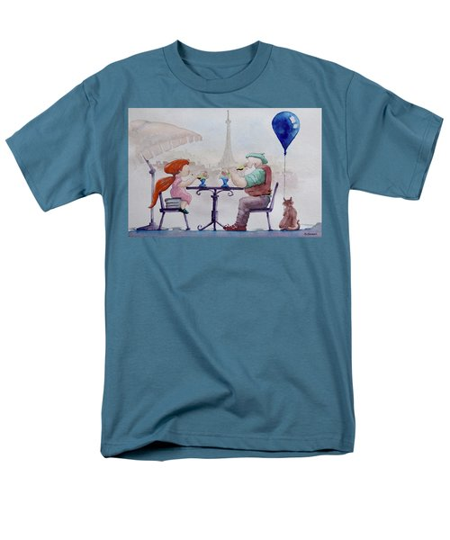 Men's T-Shirt  (Regular Fit) featuring the painting I Love Paris Grandpa by Geni Gorani