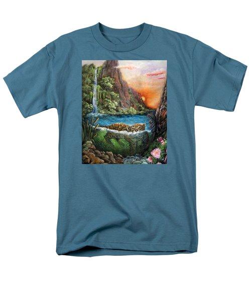 Jaguar Sunset  Men's T-Shirt  (Regular Fit) by Retta Stephenson