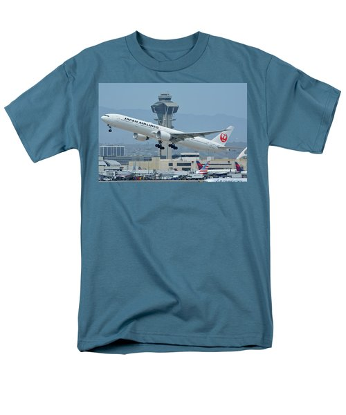 Men's T-Shirt  (Regular Fit) featuring the photograph Japan Airlines Boeing 777-346er Ja737j Los Angeles International Airport May 3 2016 by Brian Lockett