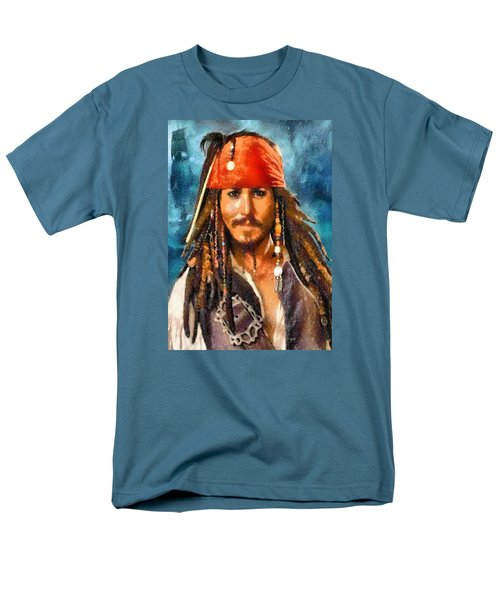 Johnny Depp As Jack Sparrow Men's T-Shirt  (Regular Fit) by Charmaine Zoe