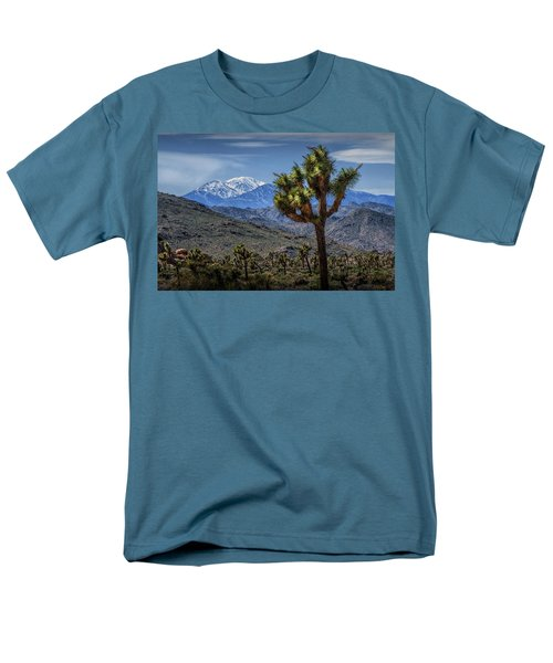 Men's T-Shirt  (Regular Fit) featuring the photograph Joshua Tree In Joshua Park National Park With The Little San Bernardino Mountains In The Background by Randall Nyhof