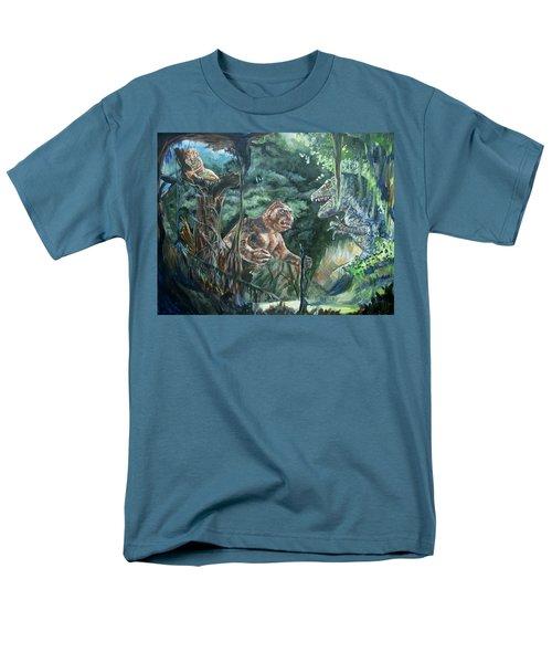 Men's T-Shirt  (Regular Fit) featuring the painting King Kong Vs T-rex by Bryan Bustard