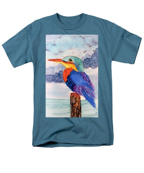 Men's T-Shirt  (Regular Fit) featuring the painting Kingfisher On Post by Suzanne Canner