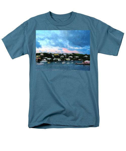 Men's T-Shirt  (Regular Fit) featuring the photograph King's Wharf Bermuda Harbor Sunrise by Susan Savad