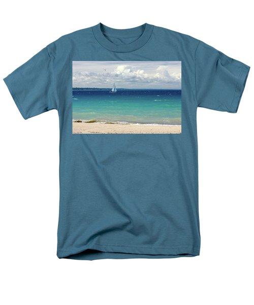 Men's T-Shirt  (Regular Fit) featuring the photograph Lake Huron Sailboat by Meta Gatschenberger