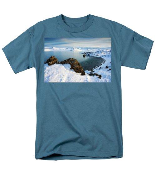 Men's T-Shirt  (Regular Fit) featuring the photograph Lake Kleifarvatn Iceland In Winter by Matthias Hauser