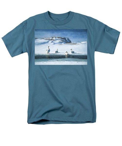 Lake Michigan Swans Men's T-Shirt  (Regular Fit) by Dennis Cox WorldViews