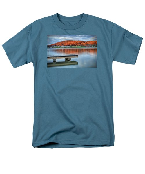 Men's T-Shirt  (Regular Fit) featuring the photograph Autumn Red At Lake White by Jaki Miller