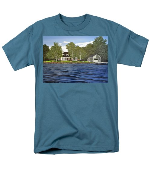 Men's T-Shirt  (Regular Fit) featuring the painting Langer Summer Home Lake Simcoe by Kenneth M Kirsch