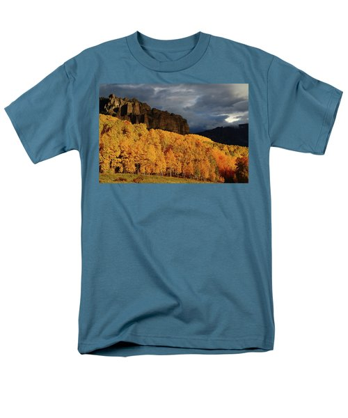 Men's T-Shirt  (Regular Fit) featuring the photograph Late Afternoon Light On The Cliffs Near Silver Jack Reservoir In Autumn by Jetson Nguyen