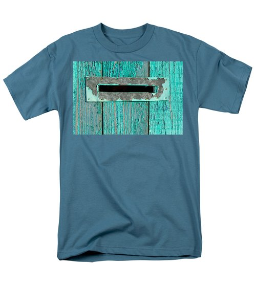 Men's T-Shirt  (Regular Fit) featuring the photograph Letter Box On Blue Wood by John Williams