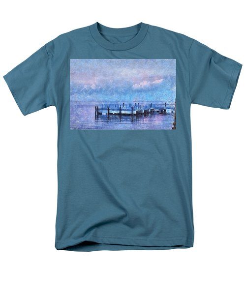 Men's T-Shirt  (Regular Fit) featuring the mixed media Lewes Pier by Trish Tritz