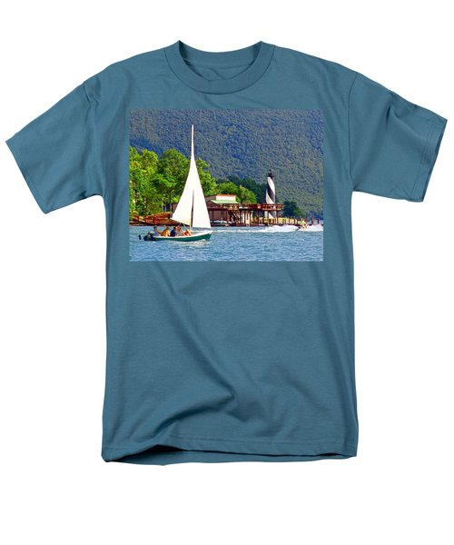 Lighthouse Sailors Smith Mountain Lake Men's T-Shirt  (Regular Fit) by The American Shutterbug Society