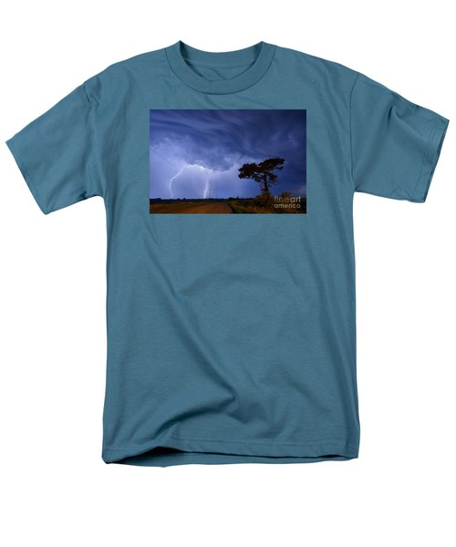 Lightning Storm On A Lonely Country Road Men's T-Shirt  (Regular Fit) by Art Whitton