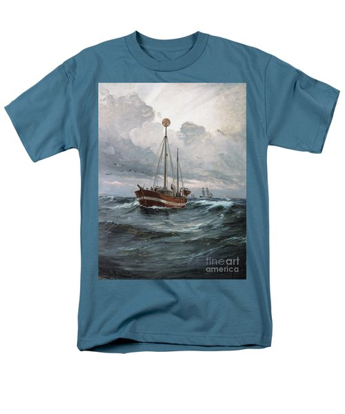 Men's T-Shirt  (Regular Fit) featuring the painting Lightship At Skagen Reef by Pg Reproductions