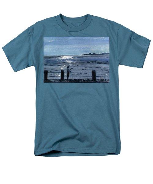 Lone Fisherman On Worthing Pier Men's T-Shirt  (Regular Fit) by Carole Robins