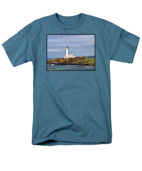 Men's T-Shirt  (Regular Fit) featuring the photograph Lone Lighthouse In Scotland by Roberta Byram