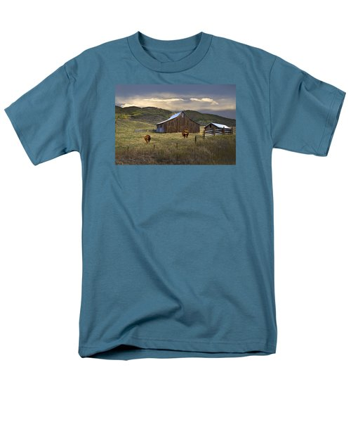 Men's T-Shirt  (Regular Fit) featuring the photograph Longhorns On The Road To Steamboat Lake by John Hix